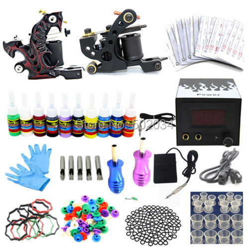 Ship From USA Complete Beginner tattoo kits 2 machine guns 10 inks colors Power Needles Tips Grips Equipment Set supplies new complete tattoo kit sets 2 machines guns grips needles tips power set equipment supplies