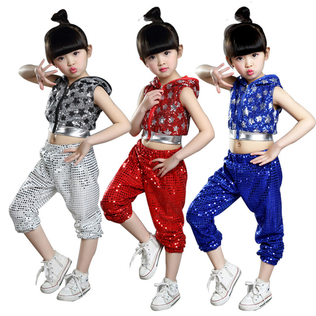 64a568364 New Children Jazz Dance Performances Costume Girls Sequins Modern ...