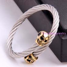 Cool Punk Gothic  Silver Gold Skull End Wire Cable Bracelets Bangles High Quality Titanium Steel New Fashion Men Jewelry