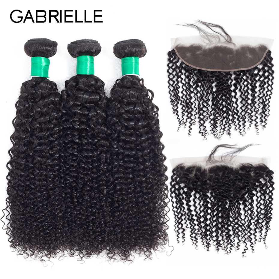 Gabrielle Malaysian Kinky Curly 13x4 Lace Frontal Closure with 3 Bundles Natural Color 8 28 inch