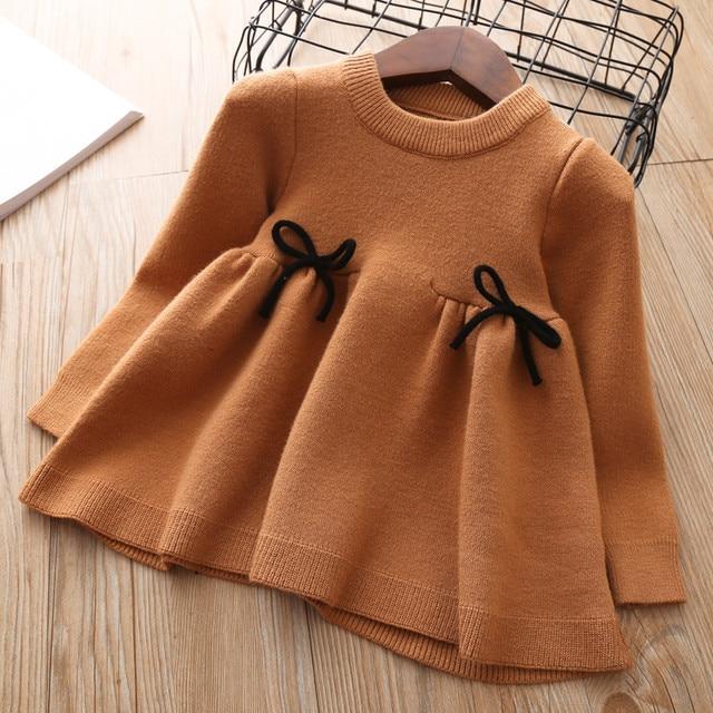 Новое трикотажное платье для девочек, коллекция 2018 года, осенне-зимняя одежда, детское платье для малышей, хлопковое рождественское теплое платье принцессы