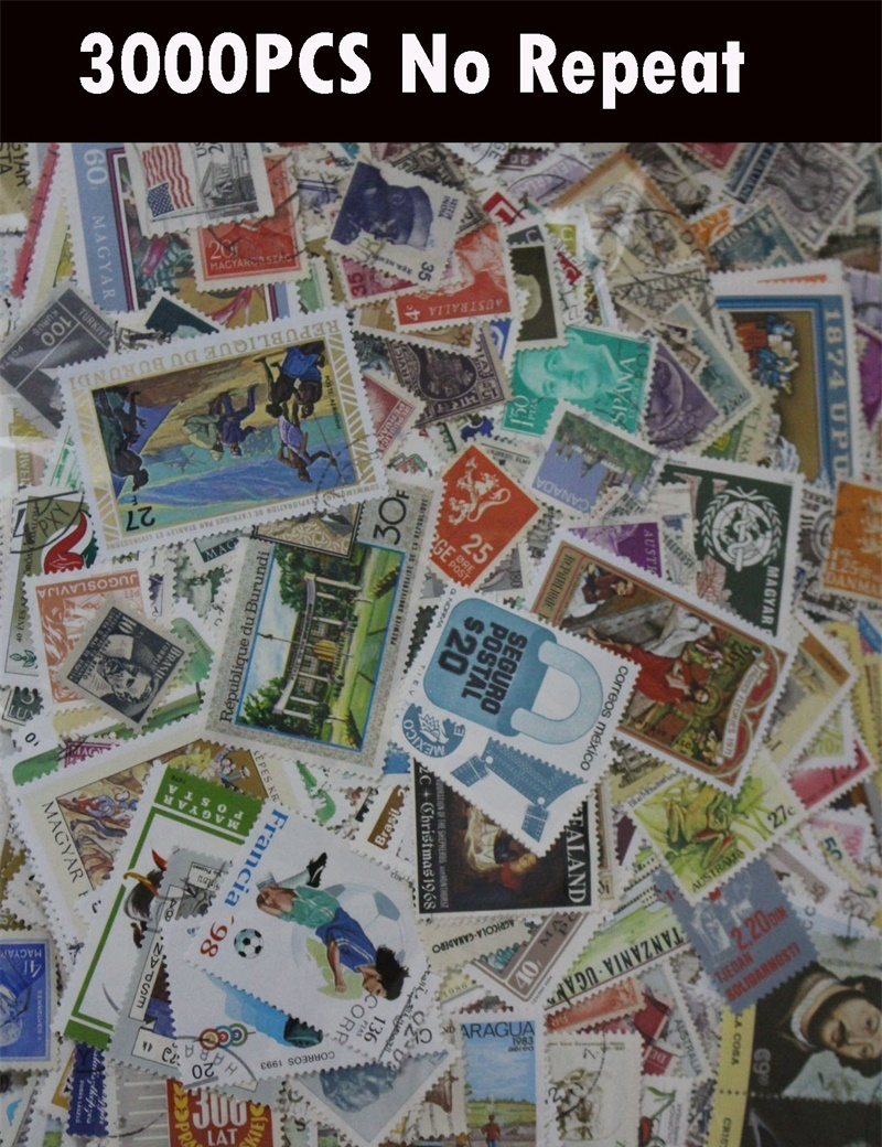 3000 PCS Lot No Repeat Postage Stamps Collections From Many Country With Postmark Stamp Postal All