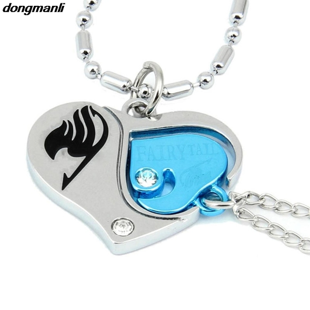 Fairy Tail Anime Natsu / Lucy Heart Style Tub Combination Pendants