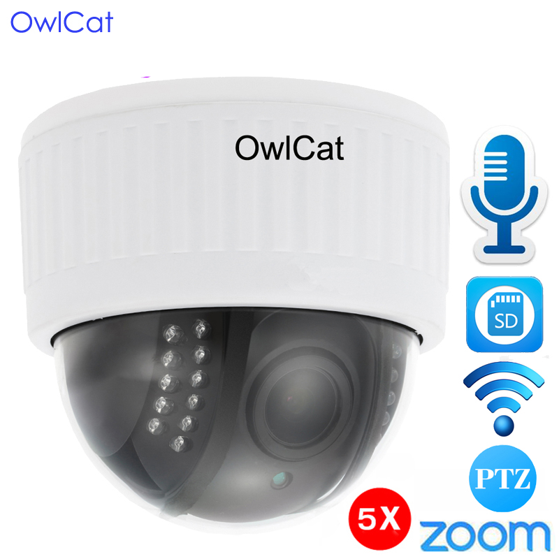 OwlCat 1080P Full HD White WiFi PTZ Indoor IP Dome Camera 5x Zoom Wireless Video Surveillance CCTV Audio SD IR Night Onvif P2P owlcat hd 1080p dome ptz ip camera wifi 5x optical zoom audio microphone security cctv wifi camera sd slot ir night onvif2 4 p2p