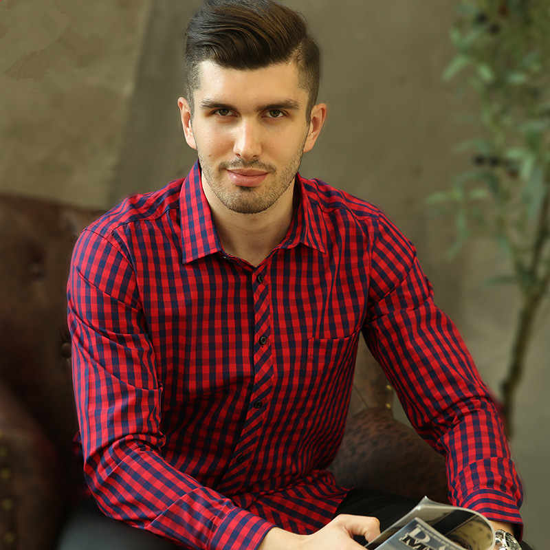 High Quality Autumn New Mens Shirt Plaid Long-sleeved Male Shirt Casual Camisa  Social Pattern Regular Fit Red Checkered Shirt