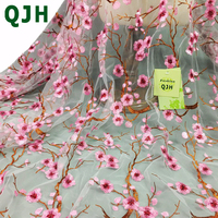 QJH Latest China Style Plum Blossom Branches Embroidery Lace Fabric African French Net Tulle Dress Lace