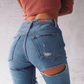 2017 Women Jeans Ninth Pants Bottom Back Ripped Holes jeans Female Scratched Tassel Hem Trousers woman Pencil Pants QL2939