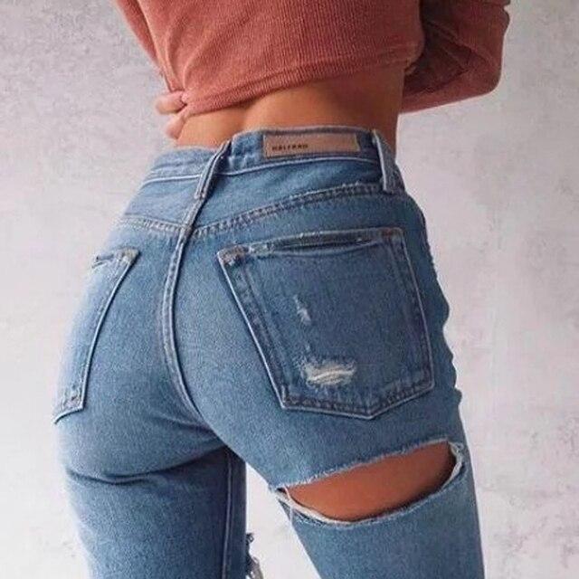 2017 Women Jeans Ninth Pants Bottom Back Ripped Holes jeans Female Scratched Tassel Hem Trousers woman Pencil Pants QL2939
