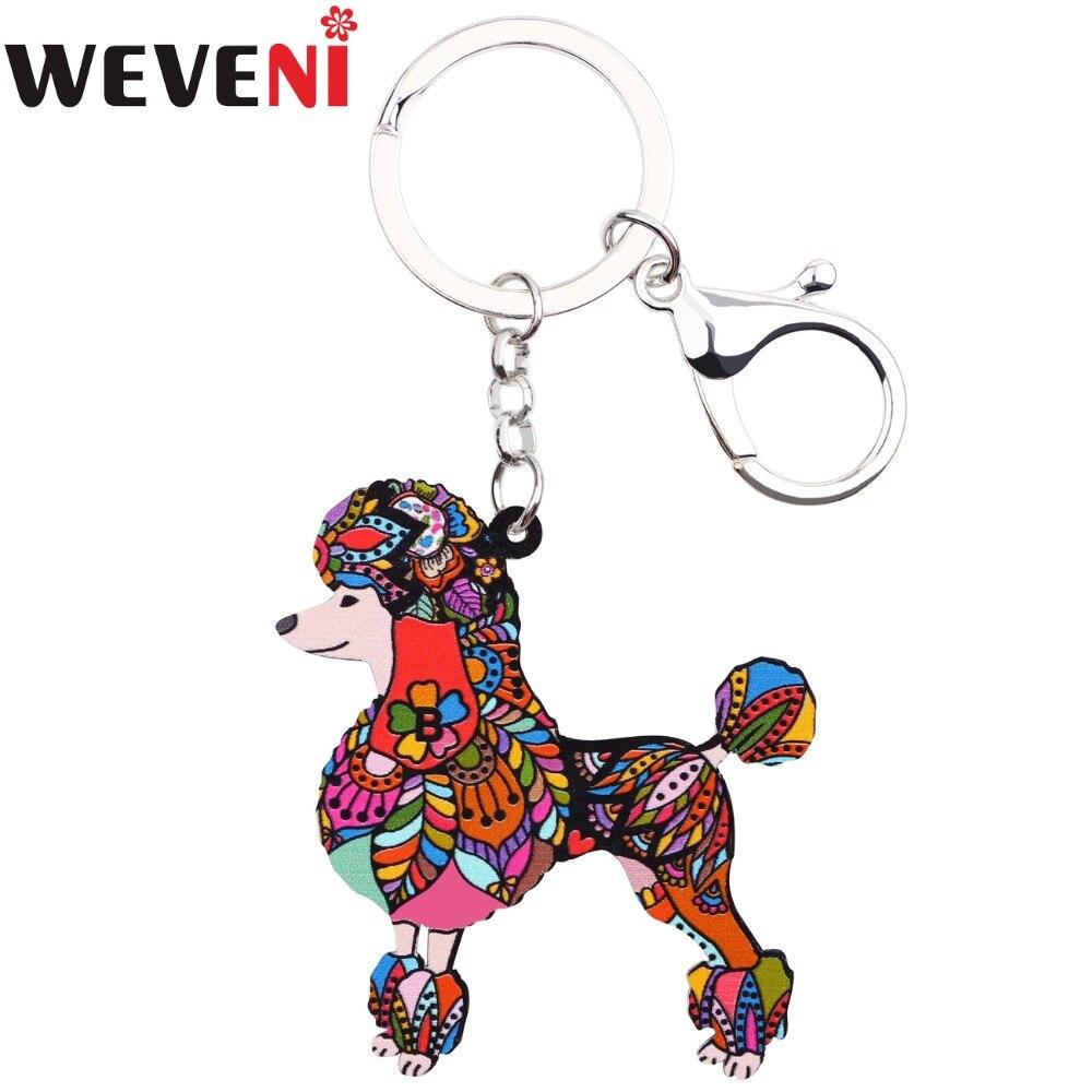WEVENI Original Acrylic Poodle Dog Key Chain Drop Shipping Key Ring Bag Charm Car Keychain Accessories New Jewelry For Women