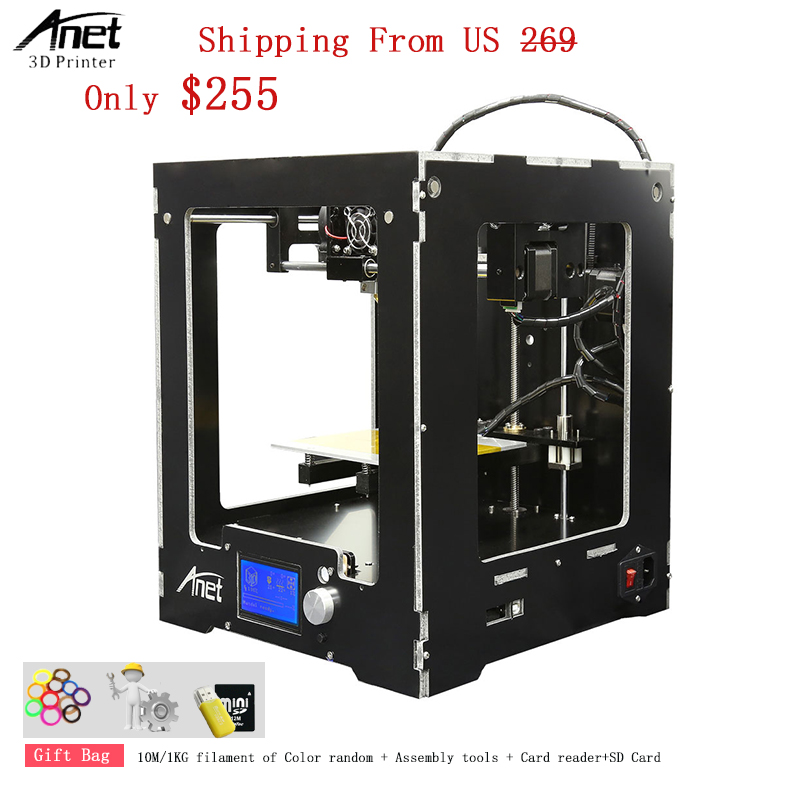 цена на Free Shipping High Quality High Precision Anet A3S 3d Printer Full Set Not Assemble Kit 3D Printer Metal Pulley Rail 3d Printer