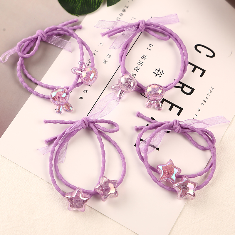1 Pcs Children Headdress Pink Double Bowknot Hair Ropes Baby Cute Elastic Rubber Bands Princess Ornaments Girls Hair Accessories Professional Design Accessories Girls' Clothing