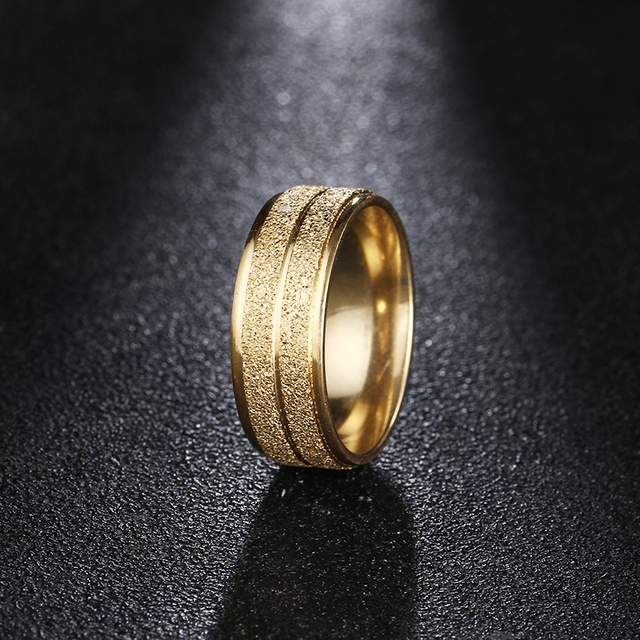 DOTIFI 316L נירוסטה טבעות נשים זהב/כסף צבע לשפשף אירוסין חתונה טבעת תכשיטים