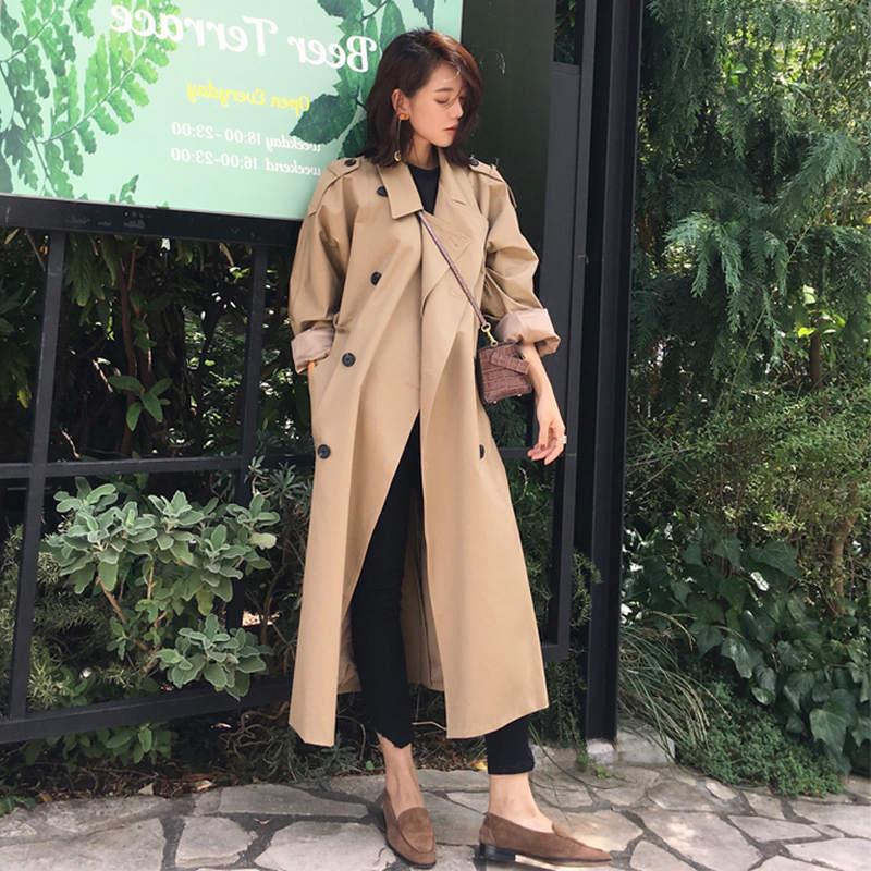 Autumn New Fashion   Trench   Coat For Women Double-Breasted Long   Trench   Coats Abrigo Mujer Khaki Windbreaker Female Overcoat C5694