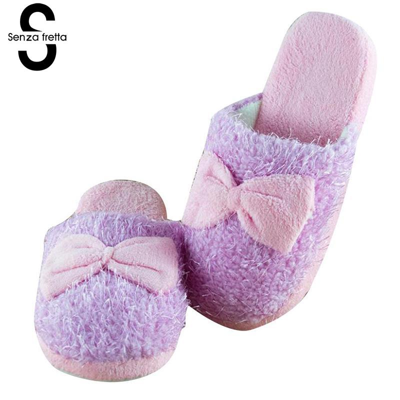 Senza Fretta Women Shoes Winter Warm Indoor Plush Slippers Butterfly Knot Soft Women Slippers Home Non-slip Beauty Women Slipper soft house coral plush slippers shoes white