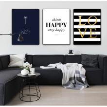 COLORFULBOY Modern Happy Quotes Canvas Painting Black White Wall Pictures For Kids Room Art Posters And Prints Home Decor