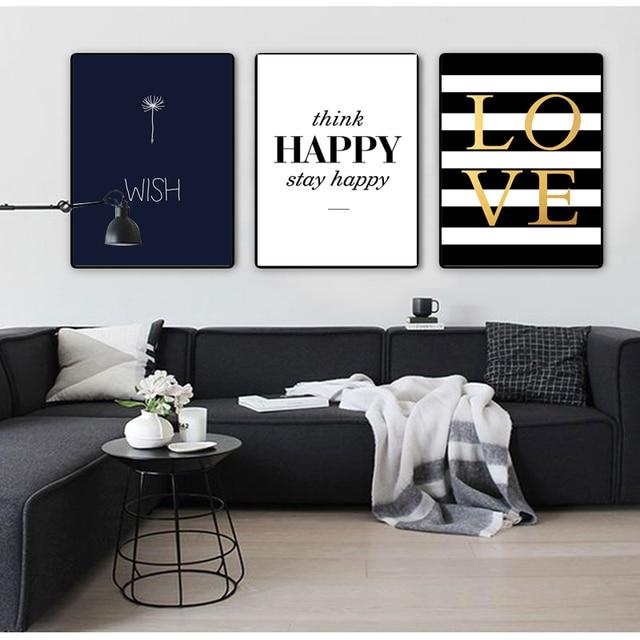 COLORFULBOY moderne heureux citations toile peinture noir blanc mur ...