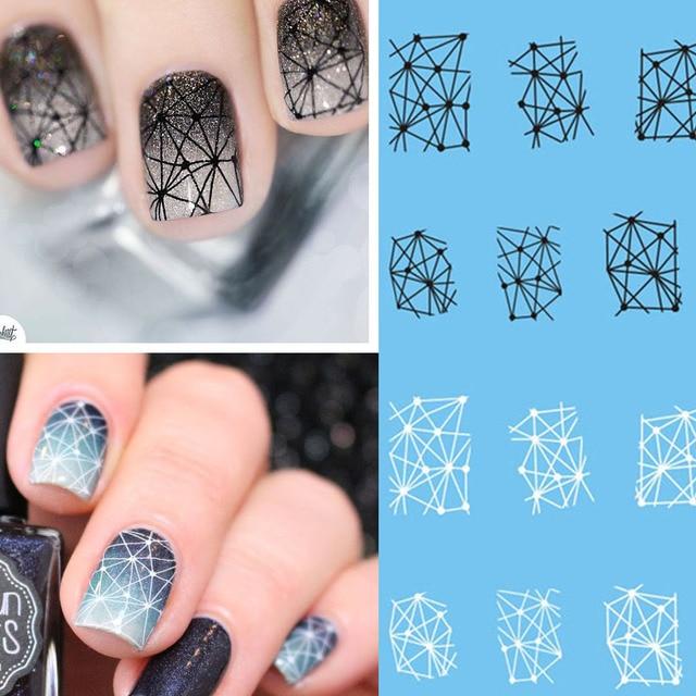 1 шт. геометрические узоры черно-белые наклейки для ногтей слайдеры татуировки наклейки водяной знак наклейка s маникюр Дизайн ногтей украшение BESTZ498