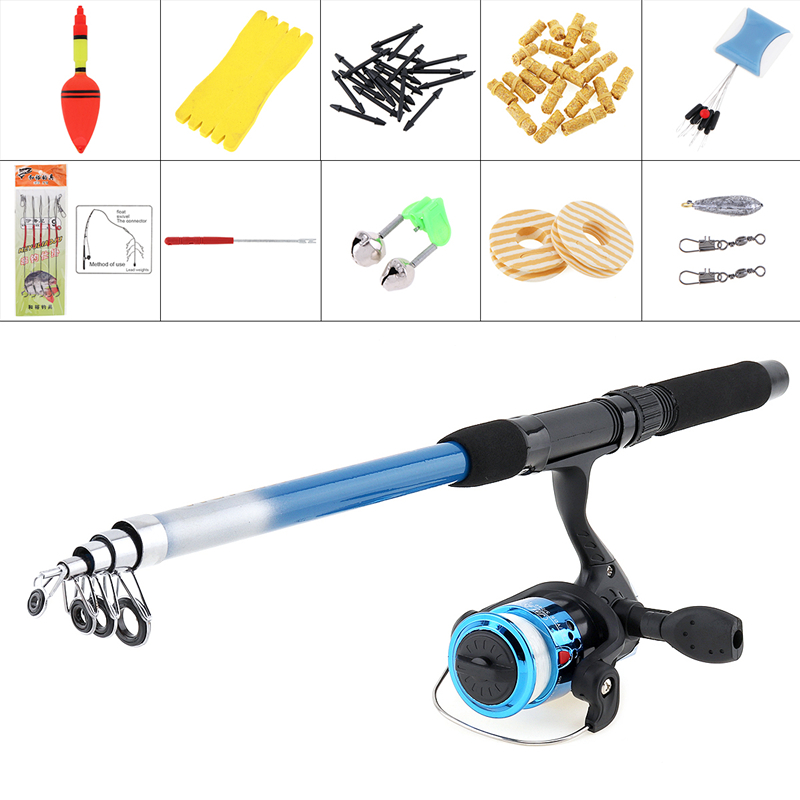 Reel-Line Combo Spinning-Reel-Pole-Set Fishing-Rod Float-Hook with Carp Lures Swivel title=