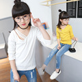 fashion v neck  white yellow t-shirt for girl girls t shirt kids tees tops long sleeve clothes new 2017 spring autumn clothing