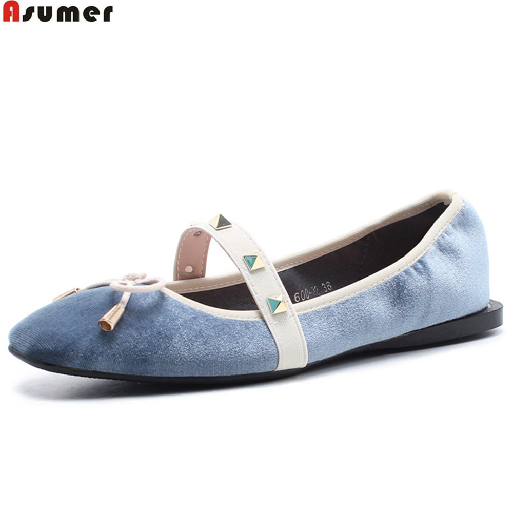 ASUMER black green fashion spring autumn flat shoes woman square toe flock casual rivet mary janes women flats comfortable spring autumn women shoes fashion rhinestone slip on round toe flats shallow mouth mature shoes mary janes casual loafers shoes