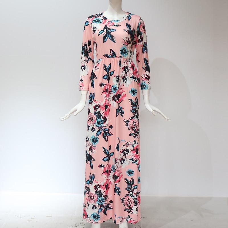 Pink color of GVN Rocks Floral Boho Summer Maxi Dress