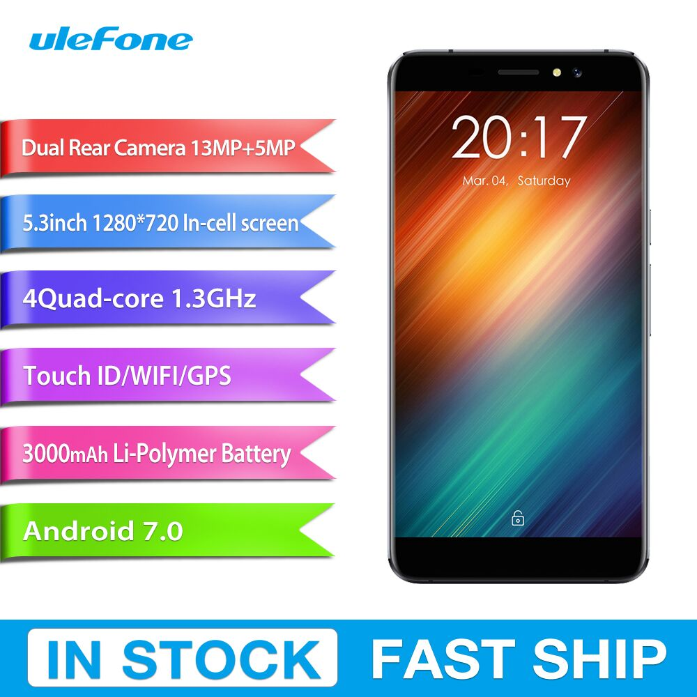 Original Ulefone S8 1GB+ 8GB Fingerprint Identification Dual Rear Cameras 5.3 inch Android 7.0 MTK6580 Quad Core up to 1.3GHz