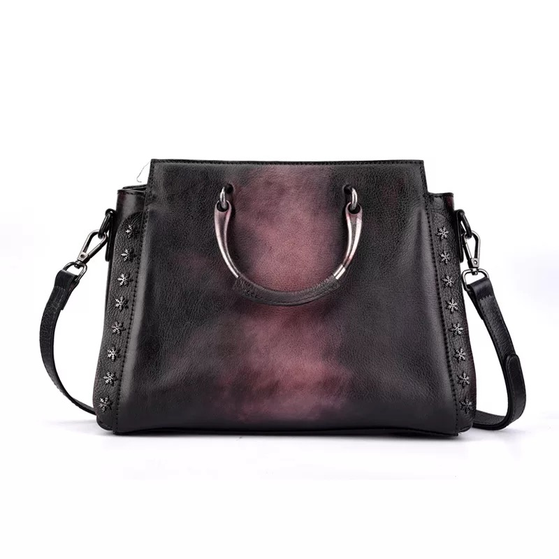 все цены на Vintage Color-mixing Deigner Genuine Leather Ladies Studs Purse Bag Cowskin Women's Metal Top Handle Handbag Rivets Shoulder Bag онлайн