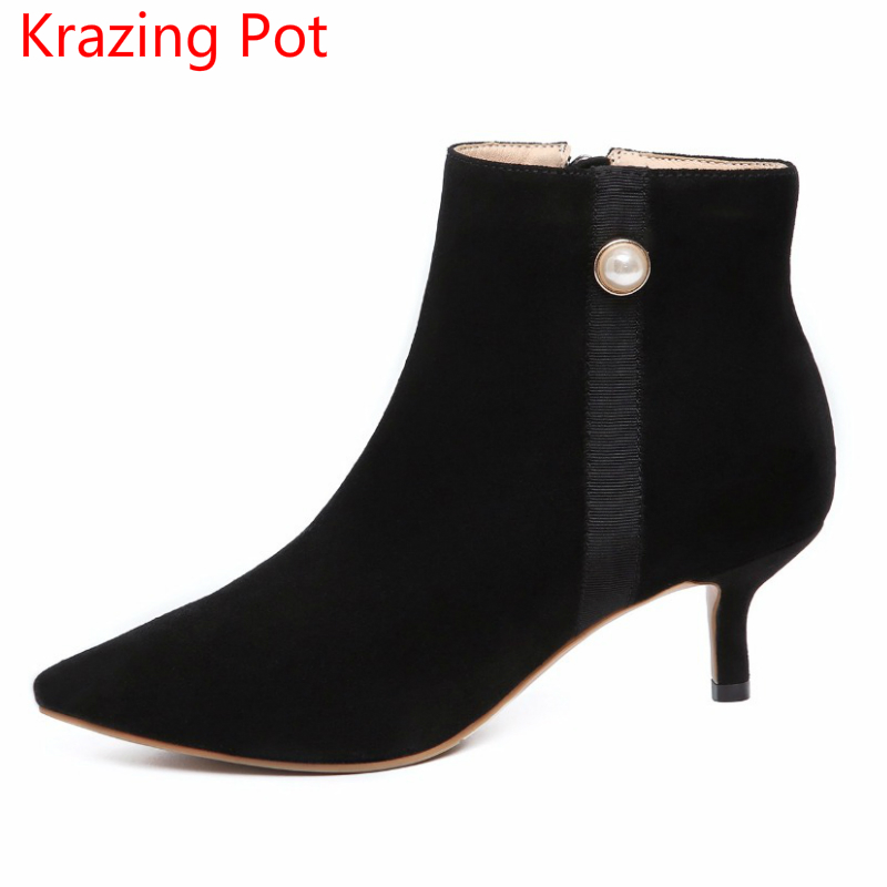 2018 superstar Cow Suede Fashion keep warm Winter boots Pointed Toe High Heels Stiletto Pearl Ankle Women Chelsea Boots L10 2018 superstar cow suede streetwear square toe zipper high heels winter boots keep warm office lady ankle boots for women l50