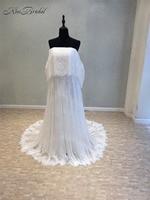 New Simple Long Wedding Dress 2018 Strapless A Line Court Train Appliques Lace China Bridal Gowns Vestido de noiva