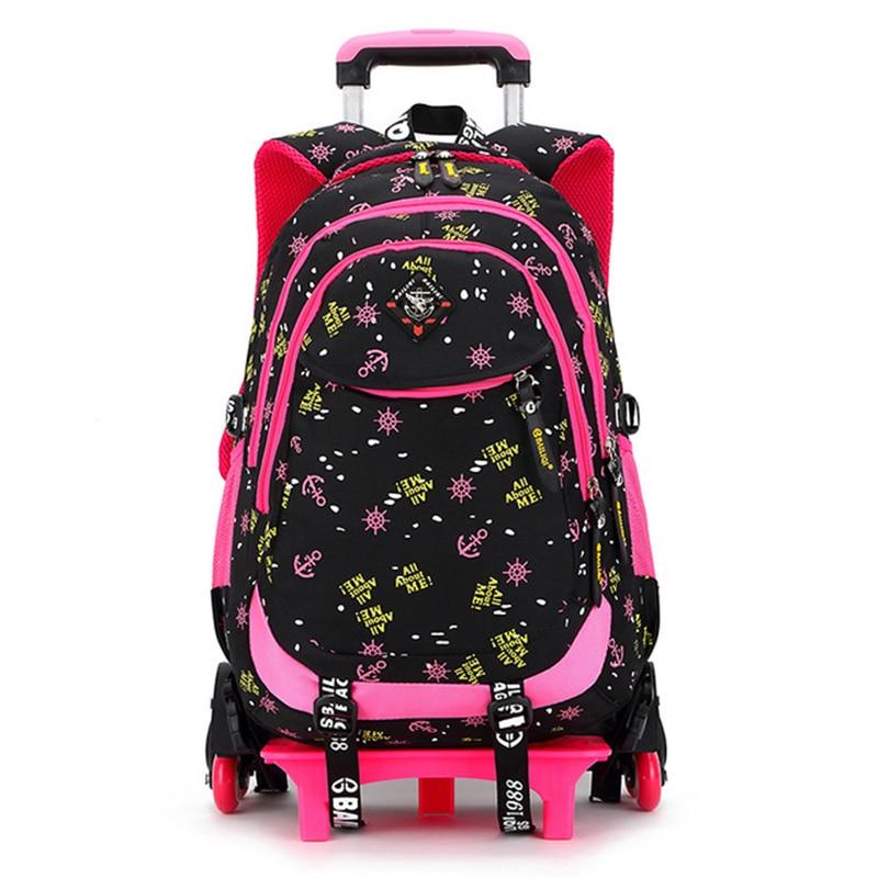 Дети школьный рюкзак тележка Съемная колёса путешествия рюкзаки подняться лестницы ранцы дети тележка Bookbags Mochila Escolar