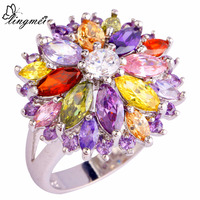 lingmei WholesaleCluster Peridot Red Gold Purple Cubic Zircon Silver Ring Size 6 7 8 9 10 11 12 13 Women Jewelry Flower Design