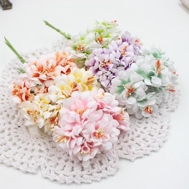 Дешевые шт. 6 шт. шелк градиент искусственные тычинки букет для Свадебные украшения DIY Скрапбукинг Декоративные венок поддельные цветы