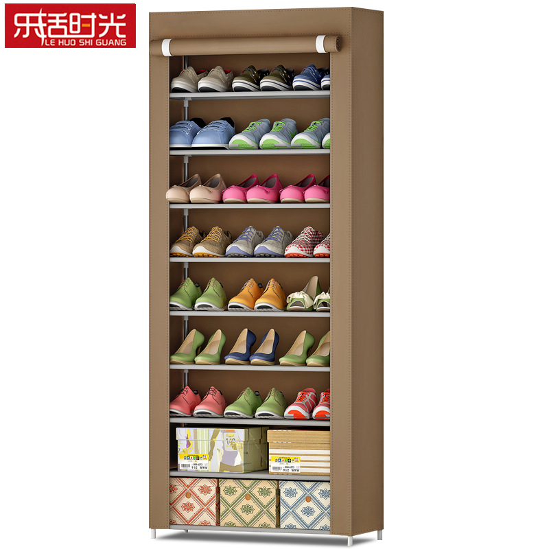 9 Tier Shoe Rack Thicken Non-woven Fabric Bold Steel Frame Closet Cabinet Multi-function Storage Organizer for Shoes and Boxes