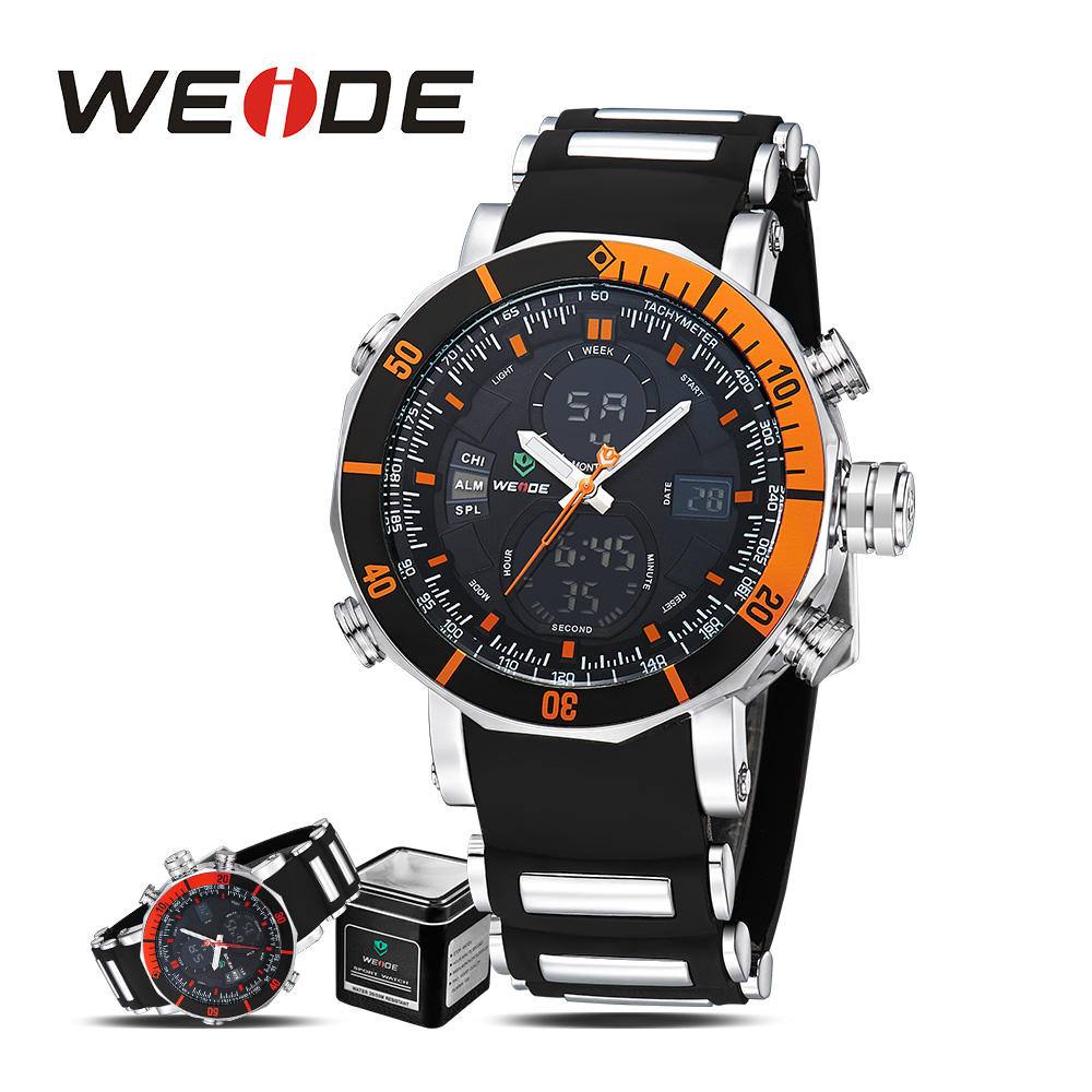 WEIDE  sport digital automatic quartz  watch Silicone  men watches 2017 luxury brand camping alarm clock With Luxury Gift Box weide casual genuine luxury brand quartz sport relogio digital masculino watch stainless steel analog men automatic alarm clock