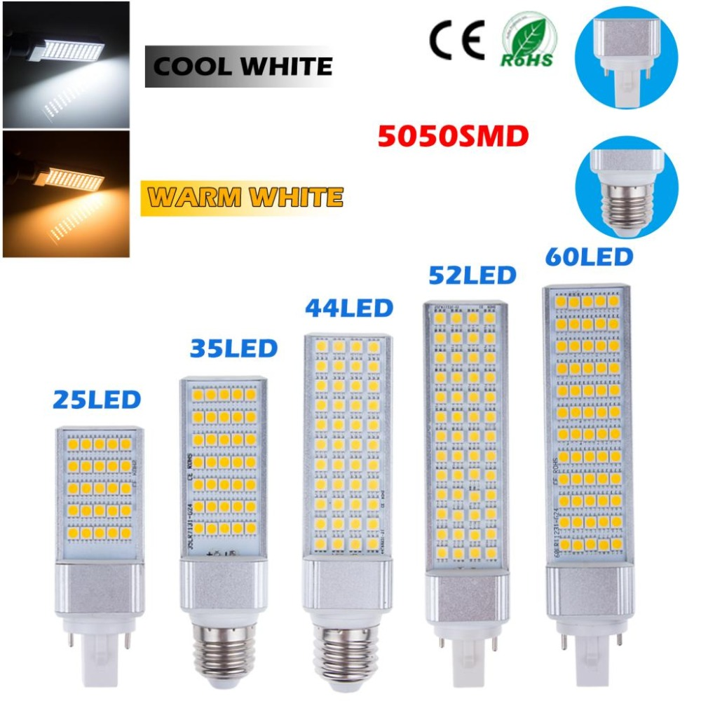 5W 7W 9W 11W 13W G24 LED Bulb E27 Lighting Bulb Bombillas Light Replace Fluorescent Lamp AC85-265V G24 LED Horizontal Plug Light