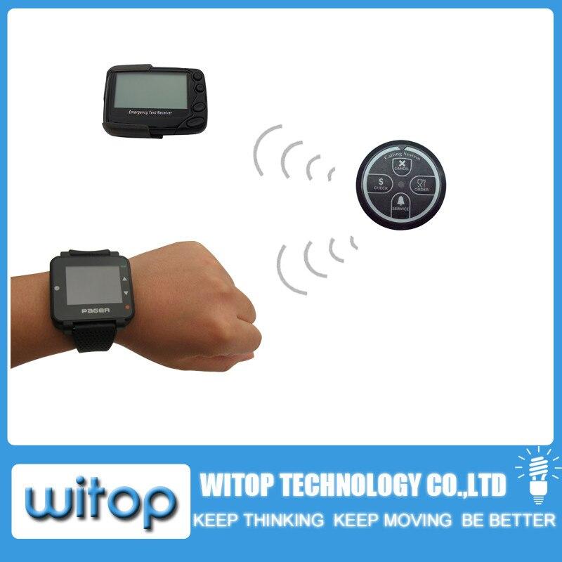 Livraison gratuite! Système de radiomessagerie Alpha, bouton de table de serveur d'appel de 4 clés, téléavertisseur de montre de message texte de Pocsag, service sans fil de restaurant