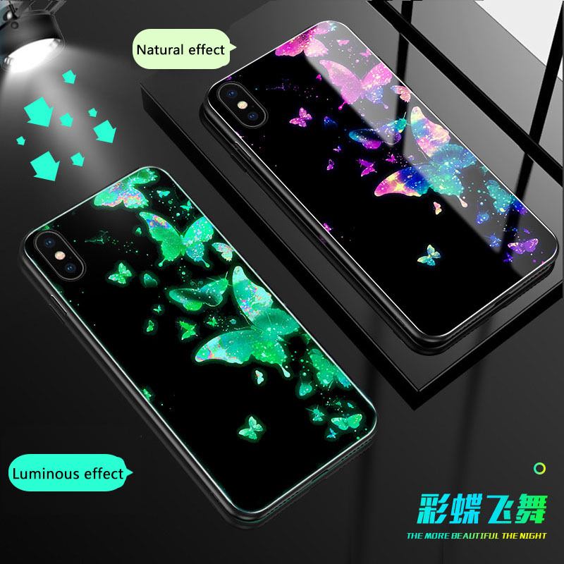 Butterfly werewolf Luminous Glass Case For iphone 6 6S 7 8 Plus Luxury back Cover X 10 XS MAX XR Phone Cases