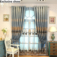 Exclusive Show New European Chenille Embroidery Affixed With Velvet Blue Blind Curtains For Window Villa Bedroom