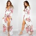 ShowMi Women Beach Tunic Print V-Neck Summer Loose Women's Bohemian Dress Sexy Irregular Long Sleeve Chiffon Long Dress