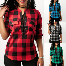 2019 New Women's Tops Sexy Deep V-neck Lace Up Office Ladies Plaid Shirts Plus Size Casual Long Sleeves Blouses Female Shirt Top lace up front sweetheart neck plaid bandeau top
