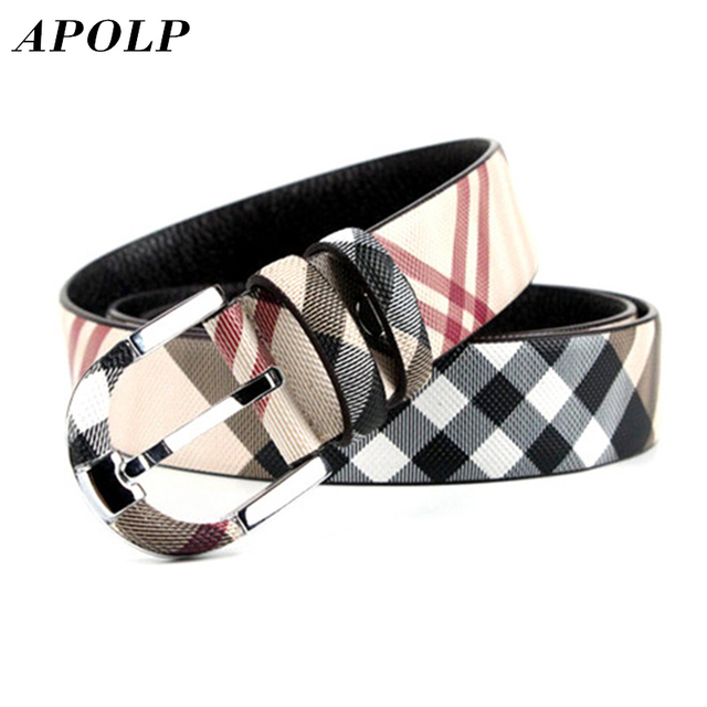 APOLP High Quality Vintage Women Man Cow Genuine Leather Wide Plaid Belt Luxury Designer Belts Best Gift Fashion Accessories