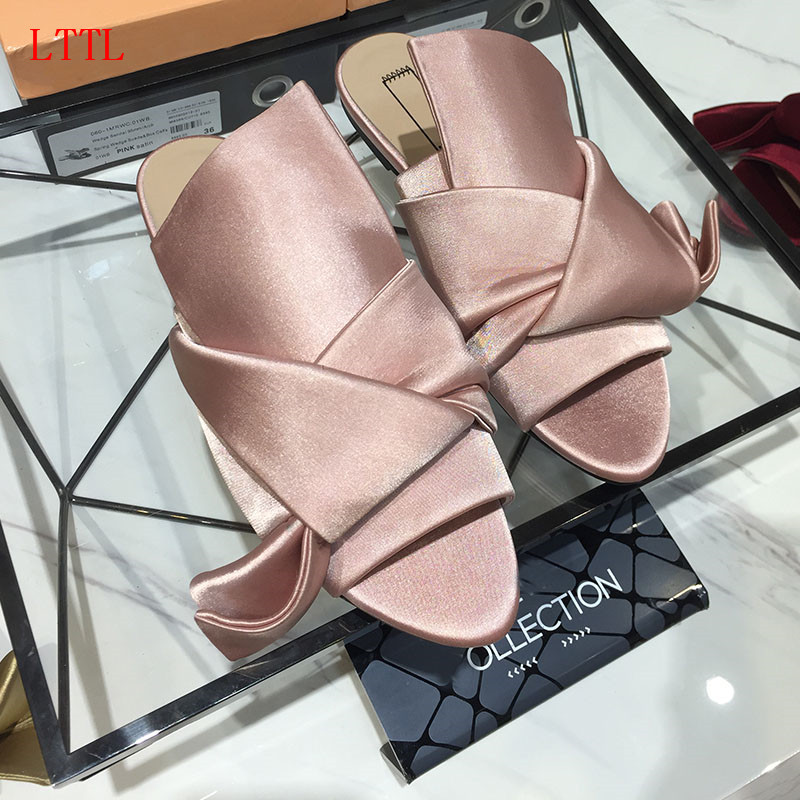 2017 Silk Bow Slides Women No Fur Slippers Flat Heels Flip Flops Stain Flat Sandals Women Big Butterfly Knot Embroidery Shoes plush winter slippers indoor animal emoji furry house home with fur flip flops women fluffy rihanna slides fenty shoes
