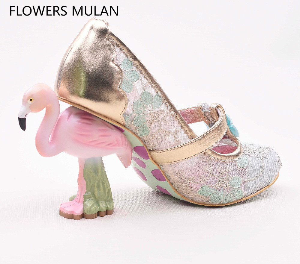 Flamingos heel Lace Women Pumps Strange High Heels Wedding Party Shoes Woman Sweet Knot Pink Candy Color Zapatos Mujer fashion sweet high neck candy color sweater