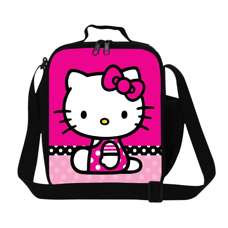 Hello kitty Cartoon Lunch Box Bag Woman Casual Handbag Bookbags