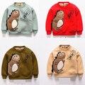 Fashion winter  boys girls Hoodie children's dinosaur pattern Baby Cotton cartoon T-shirt tops clothes With velvet