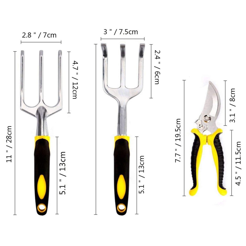 8 Pieces Aluminum Gardening Tools Garden Kit Hand Tools with Ergonomic Handles included Transplanter Trowel Pruner Rake tool set