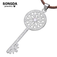 SONGDA Fashion Crystal Lock Key Pendant Necklace Inlay Full Bright CZ Cubic Zirconia Silver Color Necklace High Quality Jewelry(China)