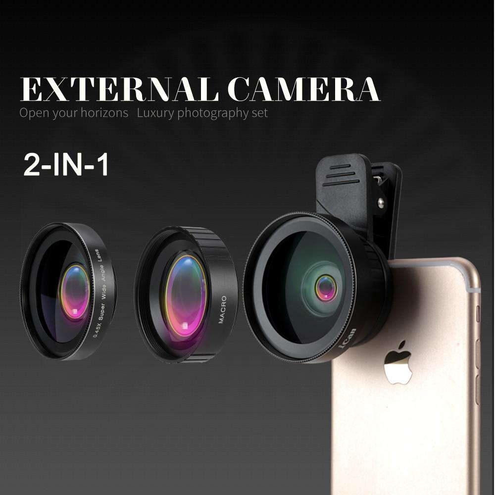 Ican 2 dans 1 0.6X Objectif Grand Angle avec Clip 37mm Fil 10X Macro Haute Définition Mobile Lentille de Téléphone pour IOS Android iPhone xiaomi