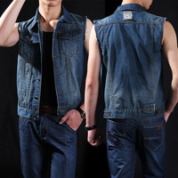Men Bodybuilding Tank Top Denim Jeans Edging Washed Blue Turn Down Collar Rivet Buttons Closure Sleeveless