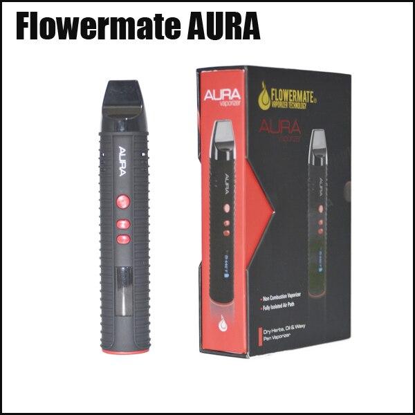 100% Original New arrival high quality  Flowermate new ecig oil dry herb vape pen 2600mah oil vaporizer AURA 30pcs ecig ce4 battey n vape e cases